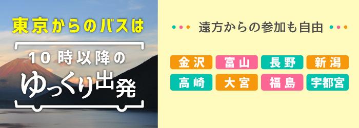 「ゆっくり」10時以降出発。各地からの新幹線自由席をご用意します!金沢、富山、長野、新潟、高崎、大宮、福島、宇都宮、から新幹線で東京駅へ!